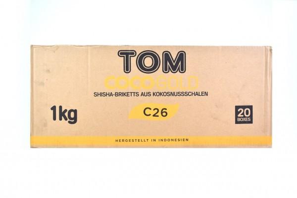 Tom Coco Premium Gold Kokosnuss Naturkohle Kohle 20Kg Box